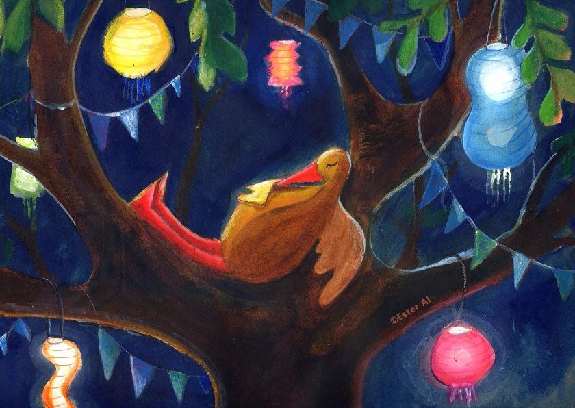 Kinderfeestjes - lampionnenboom met vogel
