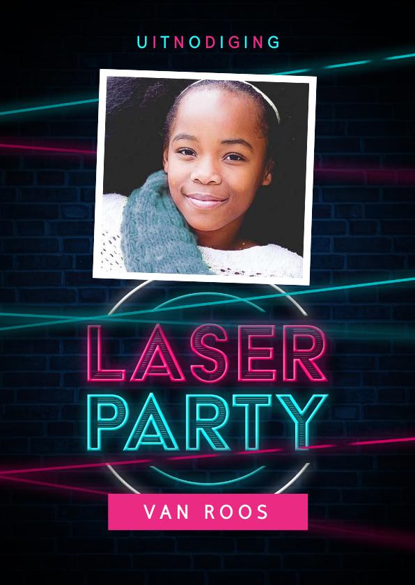 Kinderfeestjes - Laserparty kinderfeestje stoer indoor uitnodiging