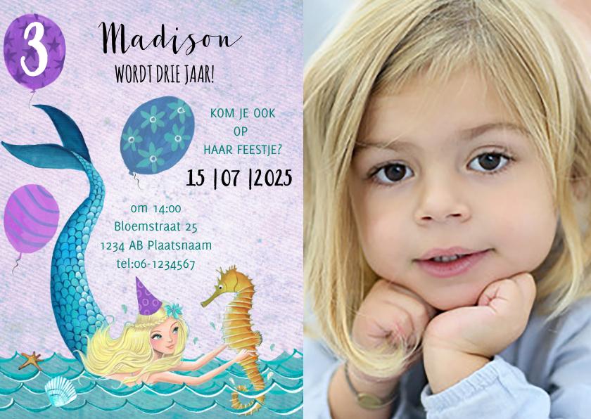 Kinderfeestjes - Leeftijd aanpasbaar verjaardag zeemeermin