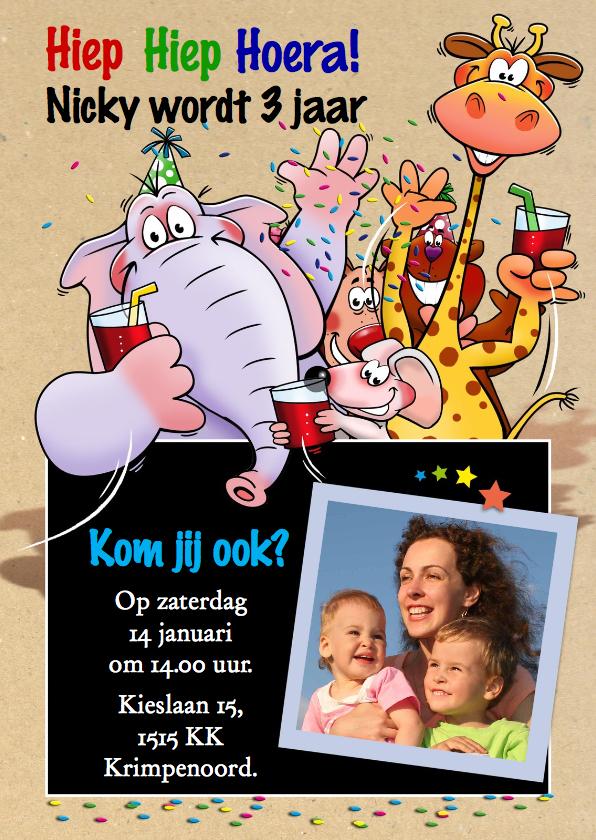 Kinderfeestjes - Leuke uitnodiging feest met 5 grappige beesten en eigen foto