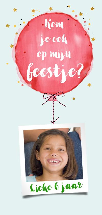Kinderfeestjes - Leuke uitnodiging kinderfeest met rode ballon