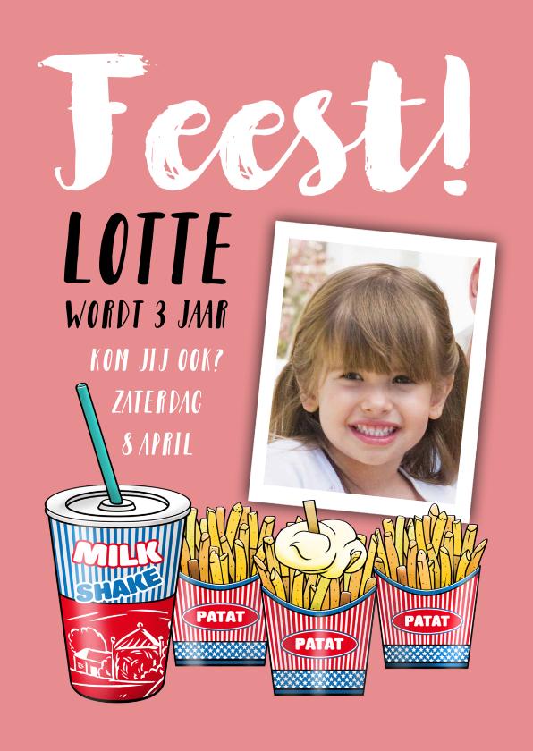 Kinderfeestjes - Leuke uitnodiging kinderfeest milkshake met zakjes patat