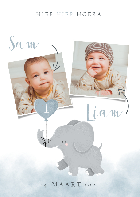 Kinderfeestjes - Leuke uitnodiging kinderfeestje voor tweeling met olifantje