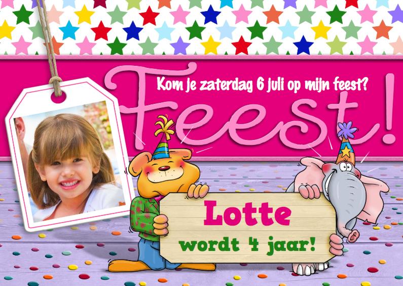 Kinderfeestjes - Leuke uitnodiging voor feest van meisje met dieren en foto