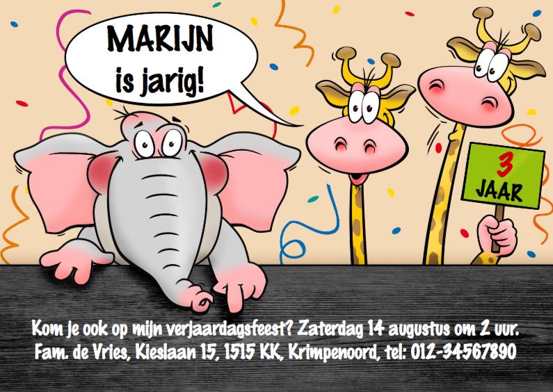 Kinderfeestjes - Leuke uitnodiging voor kinderfeestje met olifant en giraffen