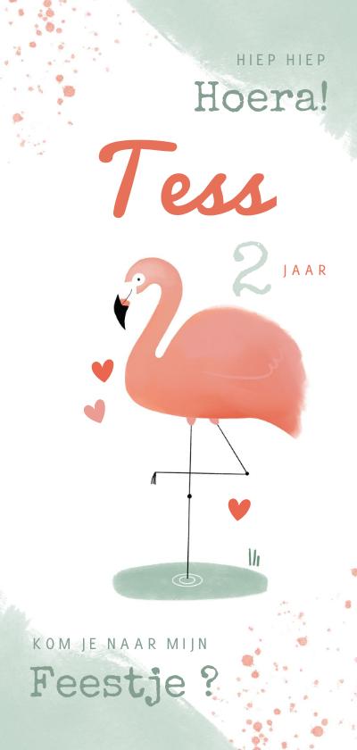 Kinderfeestjes - Lieve kinderfeestje uitnodiging flamingo meisje roze