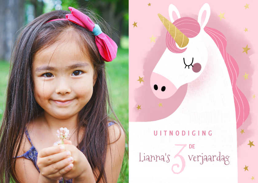 Kinderfeestjes - Lieve uitnodiging kinderfeestje eenhoorn, sterretjes & foto
