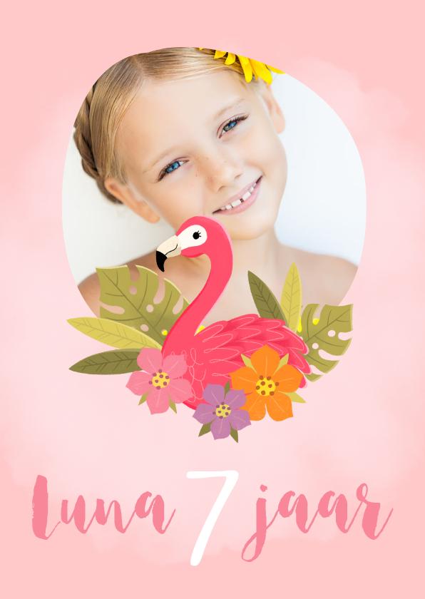Kinderfeestjes - Lieve uitnodiging met flamingo voor een kinderfeestje