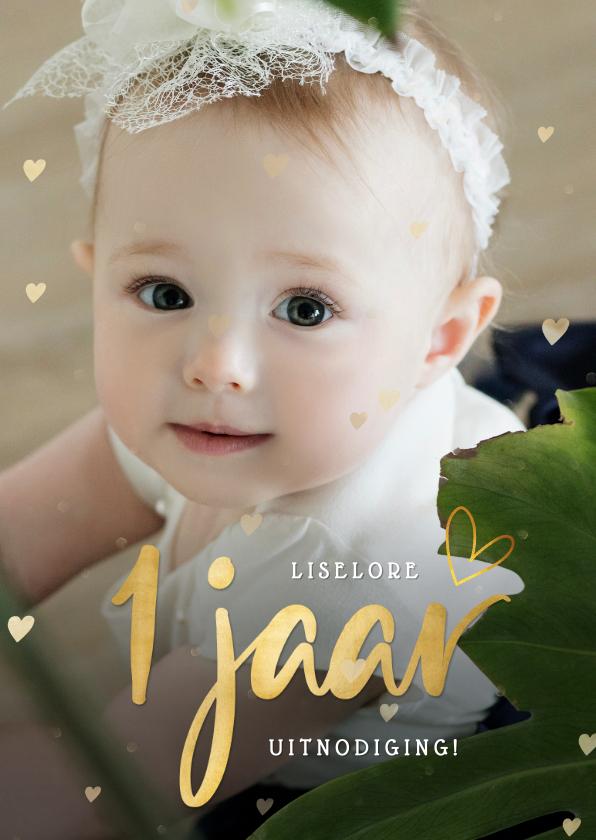 Kinderfeestjes - Lieve uitnodiging voor de 1ste verjaardag met grote foto