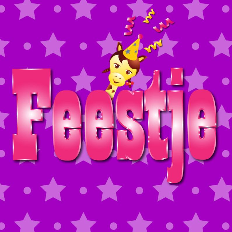 Kinderfeestjes - meisje feestje paars met ster en stip