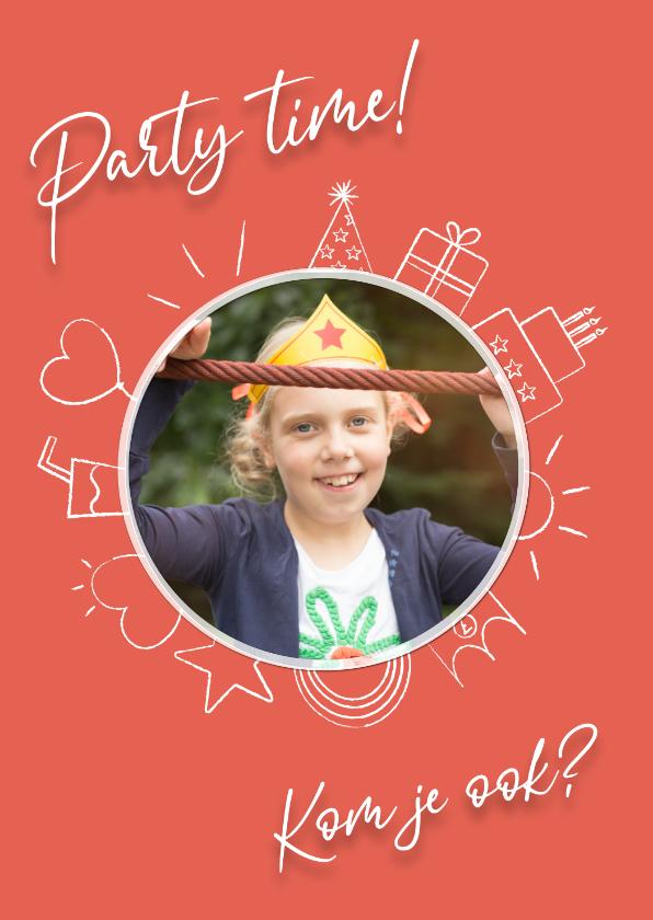 Kinderfeestjes - Party time uitnodiging - red