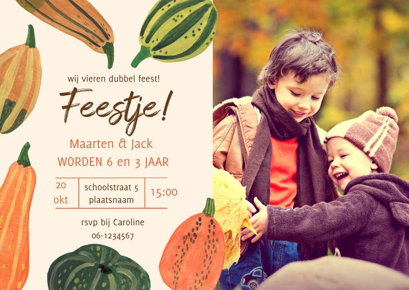 Kinderfeestjes - Pompoenen uitnodiging herfst feest Halloween