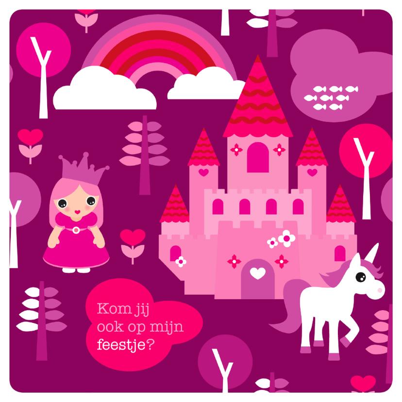 Kinderfeestjes - Princes unicorn uitnodiging kinderfeest