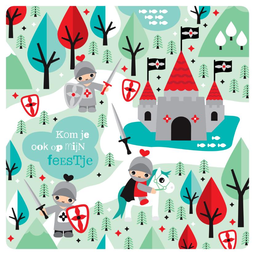 Kinderfeestjes - Ridder illustratie jongen uitnodiging