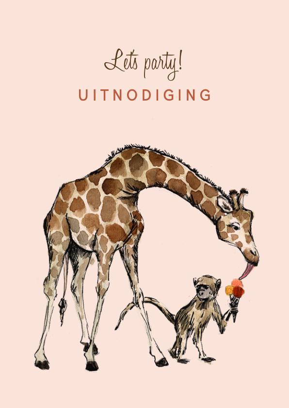 Kinderfeestjes - Roze uitnodiging met een giraf en een aapje