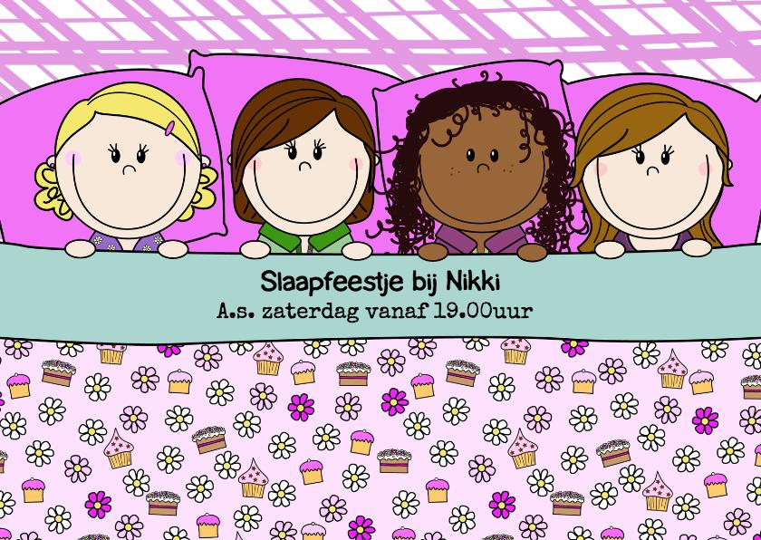 Kinderfeestjes - Slaapfeest meiden in een groot bed