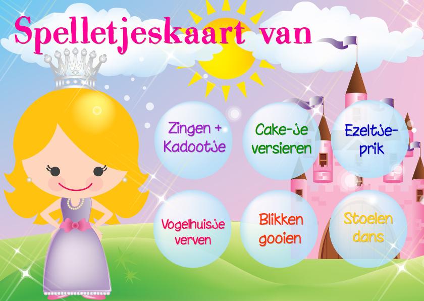 Kinderfeestjes - Spelletjeskaart Prinses