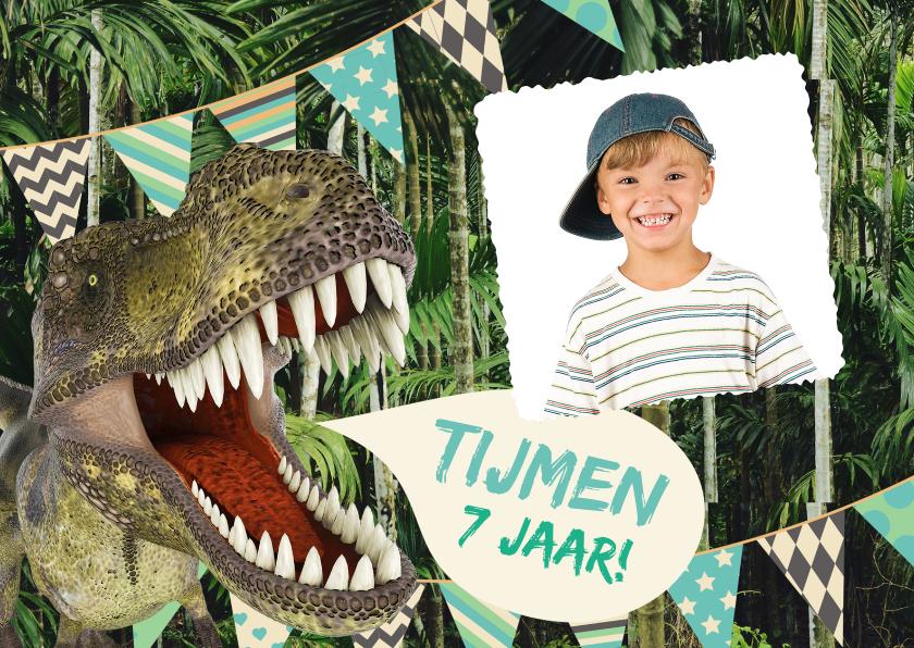 Kinderfeestjes - Stoere dino uitnodiging met eigen foto