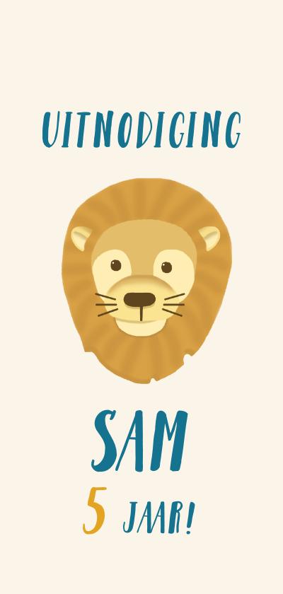Kinderfeestjes - Stoere kinderfeestje kaart safari met leeuw