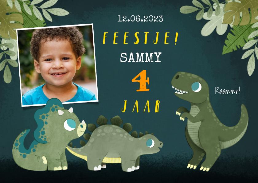 Kinderfeestjes - Stoere kinderfeestje uitnodiging met dino's, jungle en foto