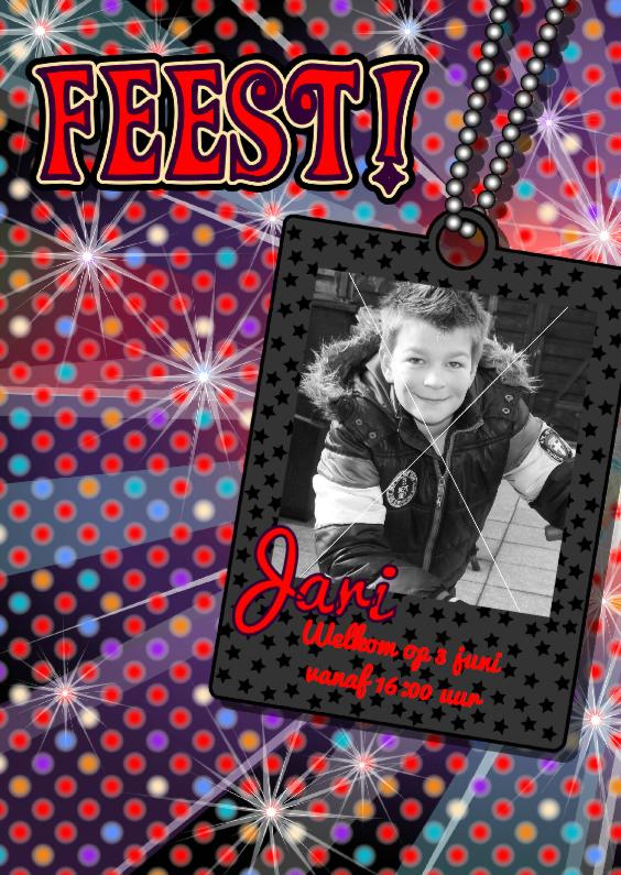 Kinderfeestjes - stoere uitnodiging DISCO jongens