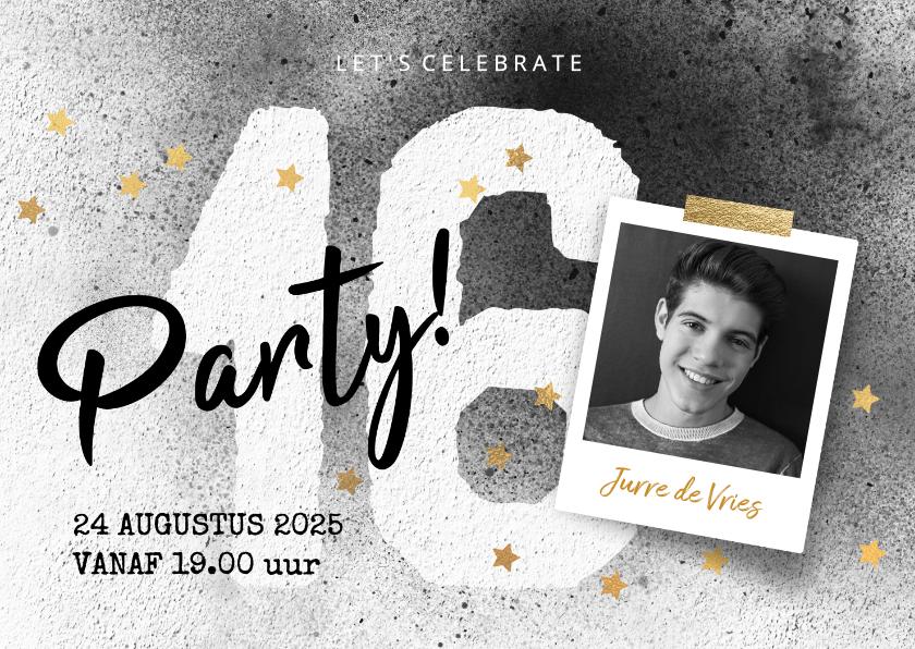 Kinderfeestjes - Stoere uitnodiging jongen 16 jaar