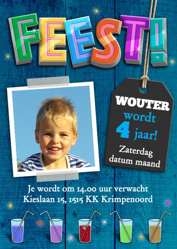 Kinderfeestjes - Stoere uitnodiging jongen met limonade op houtprint