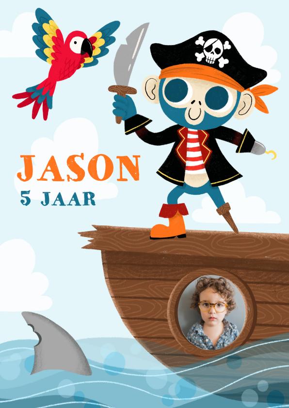 Kinderfeestjes - Stoere uitnodiging kinderfeestje met piraten aap en papegaai