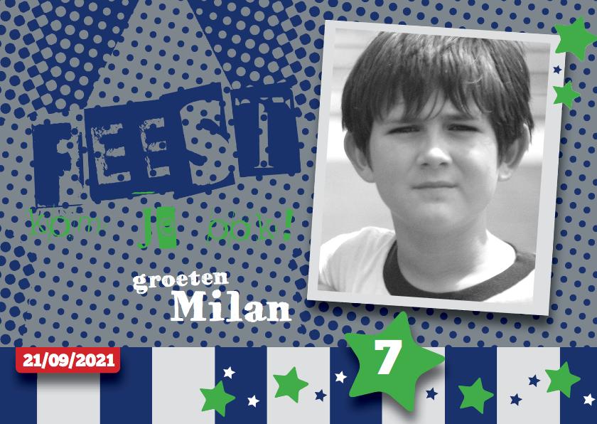 Kinderfeestjes - Stoere uitnodiging kinderfeestje Milan