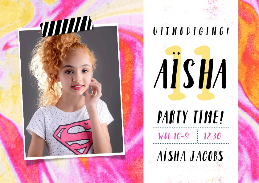 Kinderfeestjes - Stoere uitnodigingskaart voor feestje tiener meisje