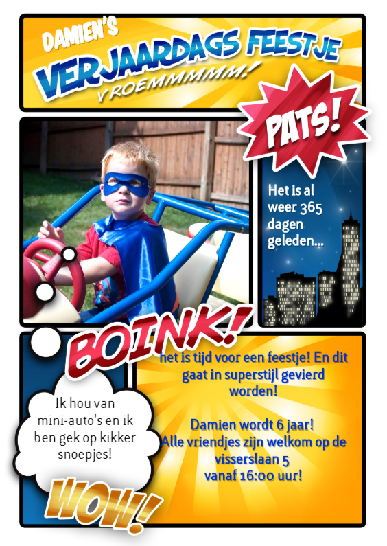 Kinderfeestjes - Stripboek kinderfeestje held