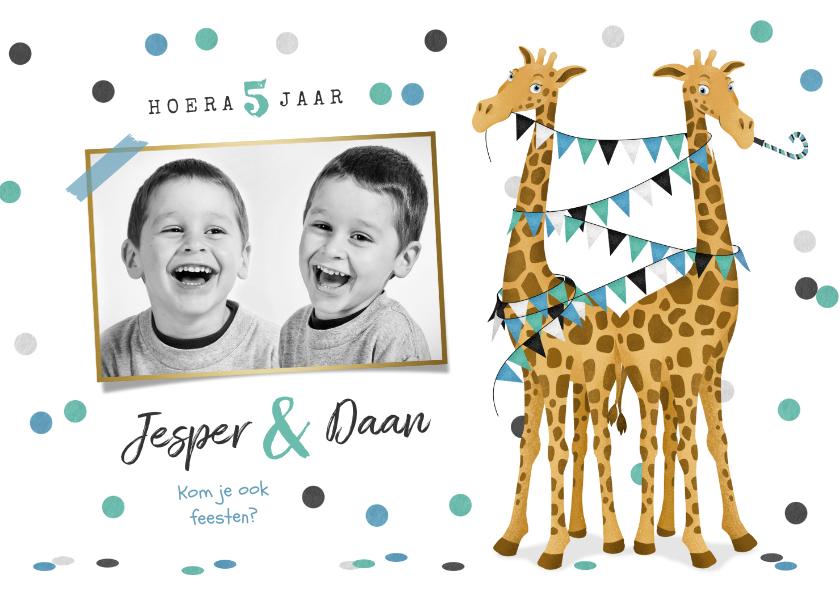 Kinderfeestjes - Tweeling kinderfeestje giraf feest confetti slingers