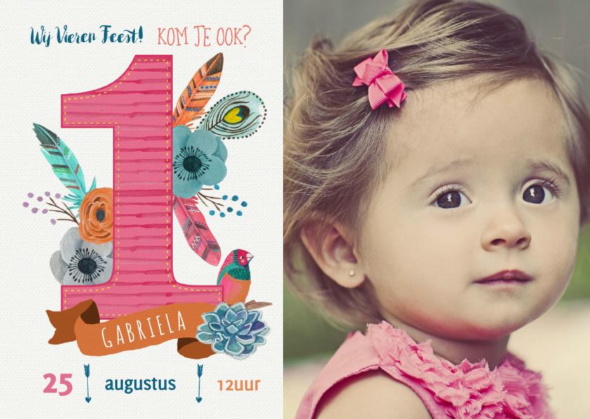 Kinderfeestjes - Uitnodiging 1 jaar Boho