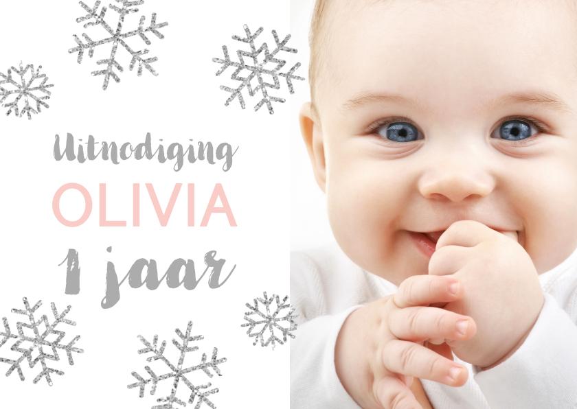 Kinderfeestjes - Uitnodiging 1 jaar foto meisje sneeuwvlokjes