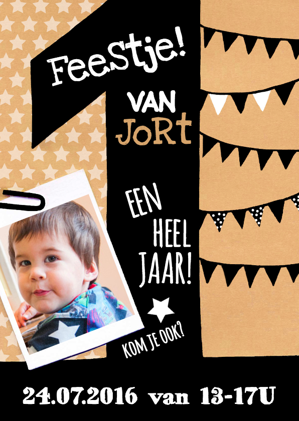 Kinderfeestjes - uitnodiging 1 jaar karton
