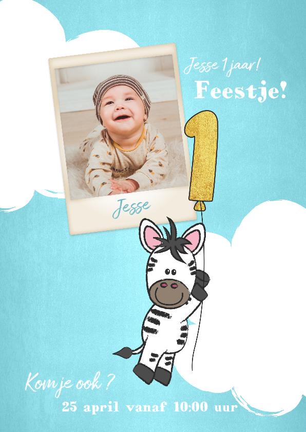 Kinderfeestjes - Uitnodiging 1e verjaardag lief en schattig zebra met ballon