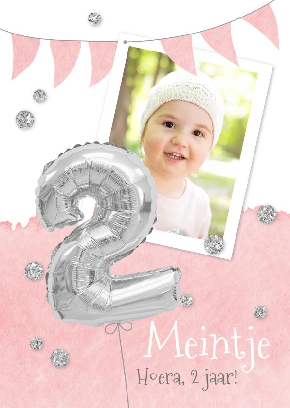 Kinderfeestjes - Uitnodiging 2 jaar eigen foto en folieballon