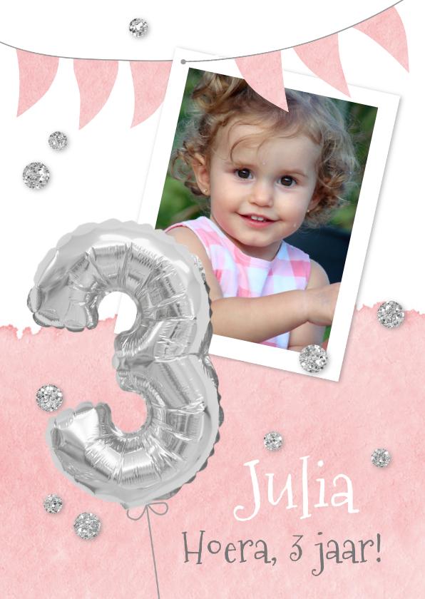 Kinderfeestjes - Uitnodiging 3 jaar eigen foto en folieballon
