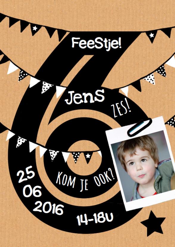 Kinderfeestjes - Uitnodiging 6 jaar karton