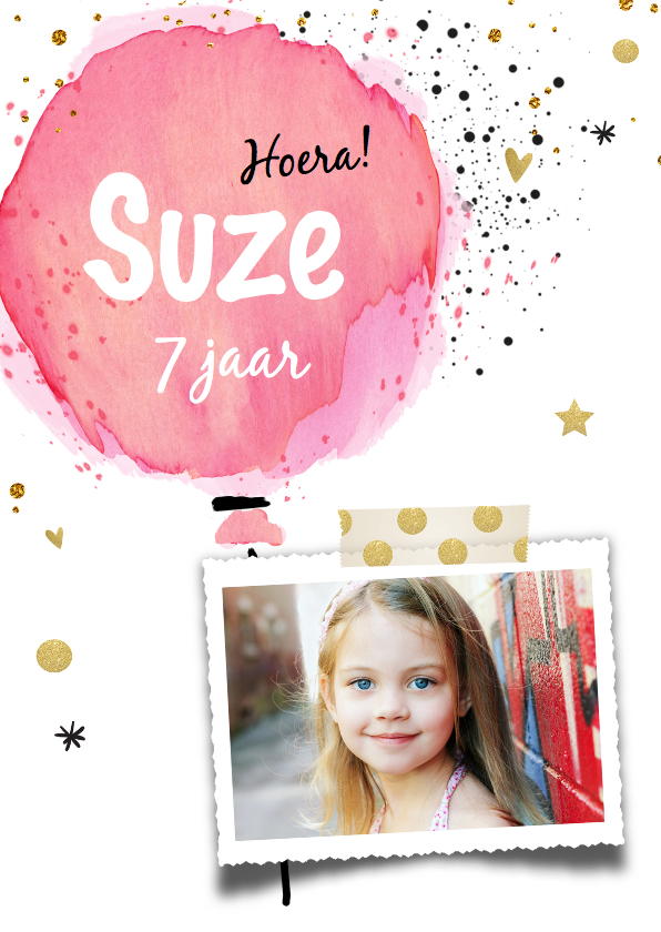 Kinderfeestjes - Uitnodiging ballon meisje - jarig