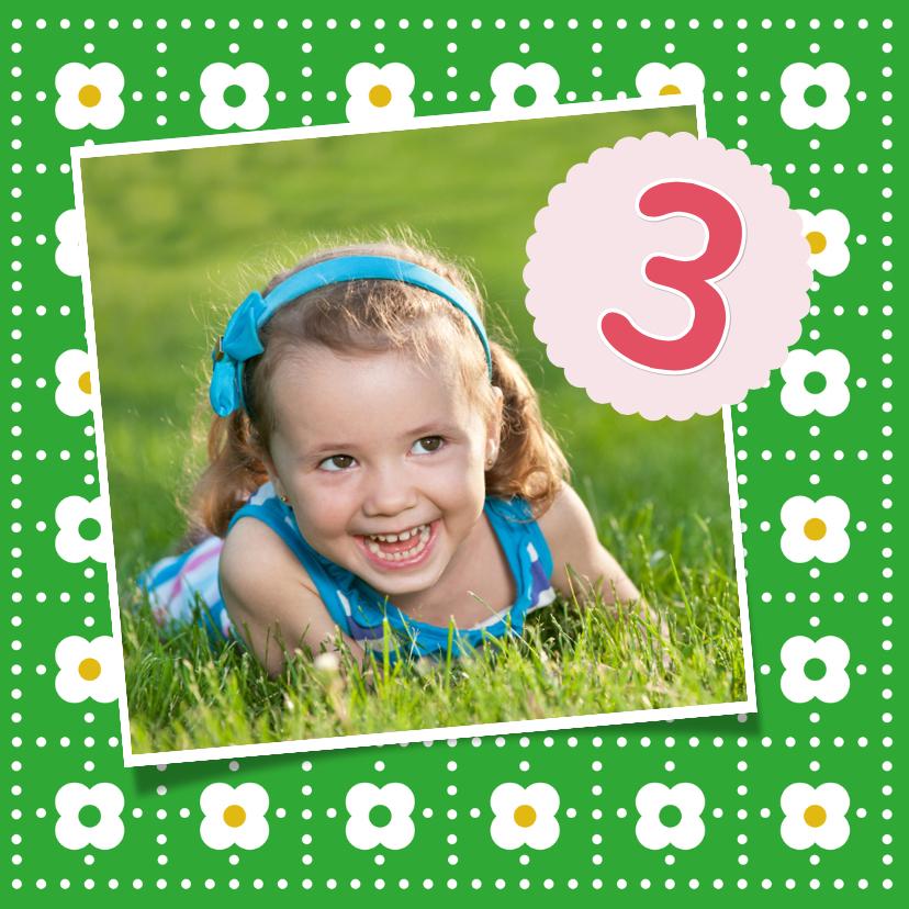 Kinderfeestjes - Uitnodiging bloemen groen 1LS3