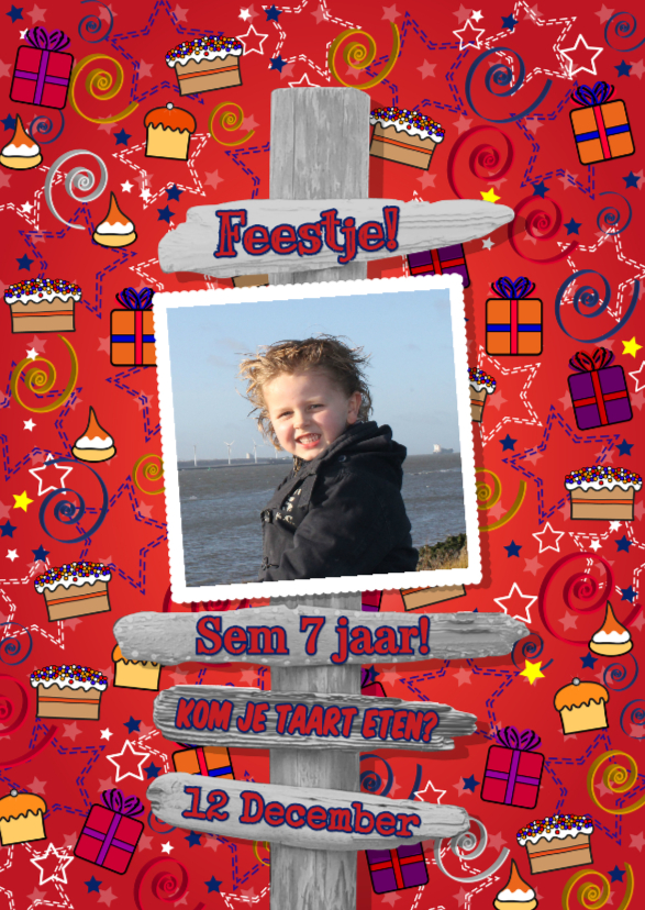 Kinderfeestjes - uitnodiging cadeau taart paal S