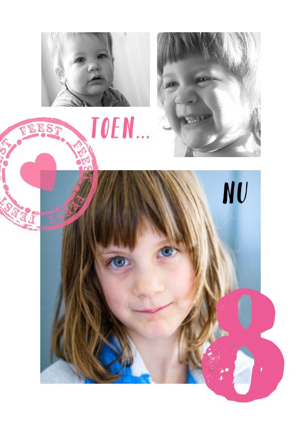 Kinderfeestjes - Uitnodiging Collage  toen en nu meisje