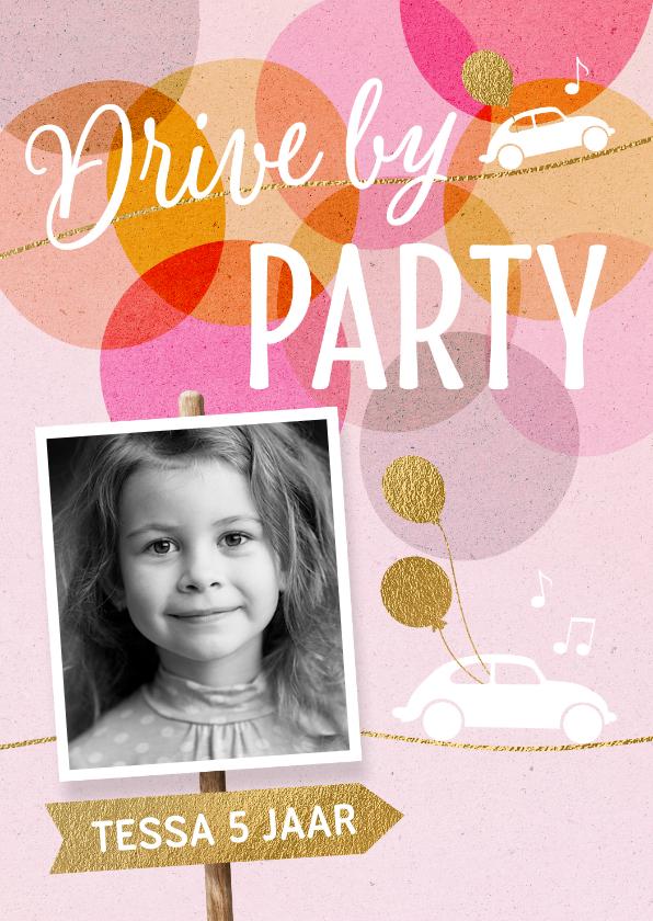 Kinderfeestjes - uitnodiging drive in kinderfeestje meisje