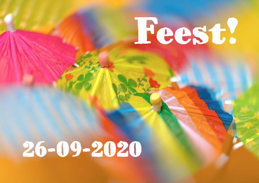 Uitnodigingen - Uitnodiging feest vrolijke parapluutjes