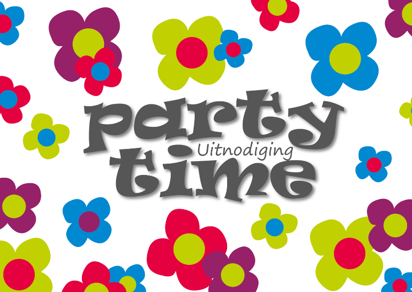Kinderfeestjes - uitnodiging feestje bloemen - SZ