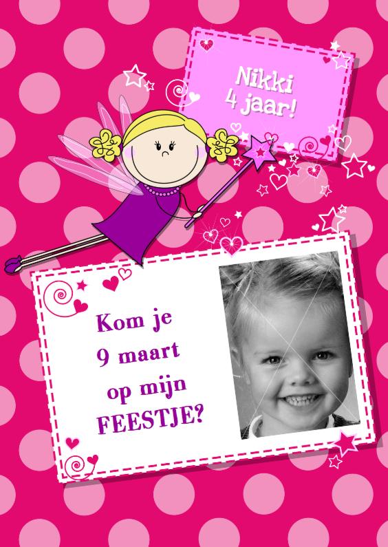 Kinderfeestjes - Uitnodiging FEEstje met blij FEEtje