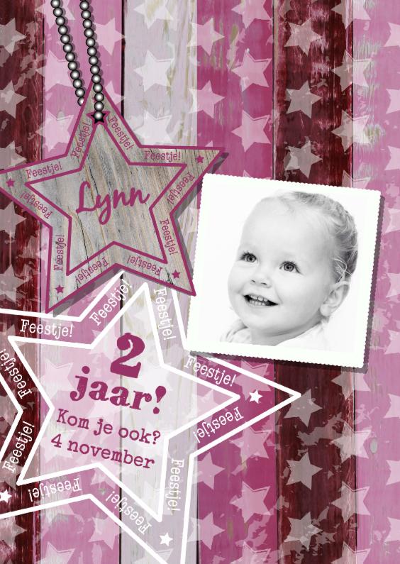 Kinderfeestjes - Uitnodiging  FOTO roze ster S