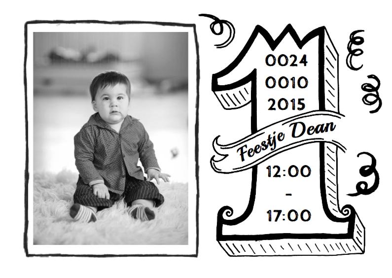 Kinderfeestjes - Uitnodiging handlettering 1 jaar