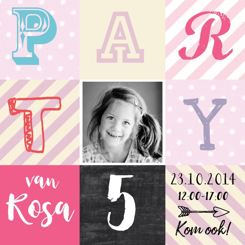 Kinderfeestjes - Uitnodiging hip Rosa